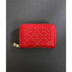 【本革】【2way】【3種展開】スタッズスクエア小さい財布 (レッド)