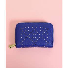 【本革】【2way】【3種展開】スタッズスクエア小さい財布 (ブルー)