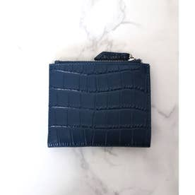 【牛革】クロコ型押しのスクエア二つ折り財布 (ブルー)