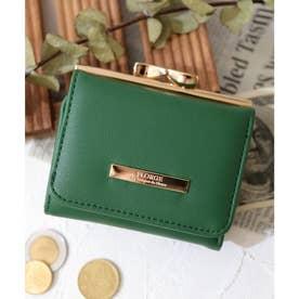 【12色展開】プレート付き小ぶりがま口財布 (グリーン)