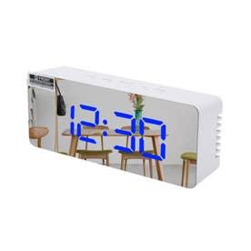 ミラーライトアップデジタル置時計 (外ホワイト/ブルーライト)