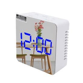 ミラーライトアップデジタル置時計 (外ホワイト/グリーンライト)