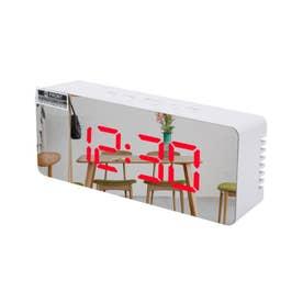 ミラーライトアップデジタル置時計 (外ホワイト/レッドライト)