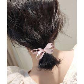 クラシックリボン×ポイントビジューのヘアカフス (ピンク)