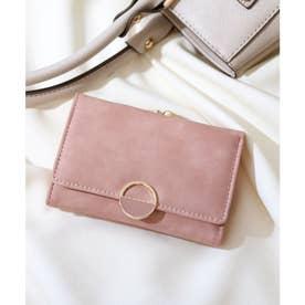 【大容量】ハーフラウンドモチーフのスクエアがま口財布 (ピンク)