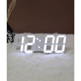 大画面卓上デジタルおしゃれ目覚まし時計 (ホワイト/ホワイト)
