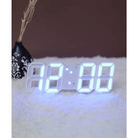 大画面卓上デジタルおしゃれ目覚まし時計 (ホワイト/ネイビー)