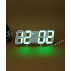 大画面卓上デジタルおしゃれ目覚まし時計 (ホワイト/グリーン)