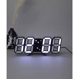 大画面卓上デジタルおしゃれ目覚まし時計 (ブラック/ホワイト)