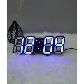 大画面卓上デジタルおしゃれ目覚まし時計 (ブラック/ネイビー)