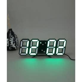 大画面卓上デジタルおしゃれ目覚まし時計 (ブラック/グリーン)