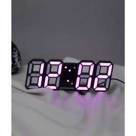 大画面卓上デジタルおしゃれ目覚まし時計 (ブラック/ピンク)