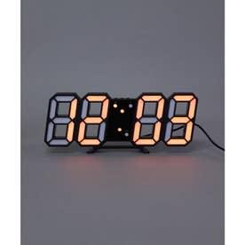 大画面卓上デジタルおしゃれ目覚まし時計 (ブラック/オレンジ)