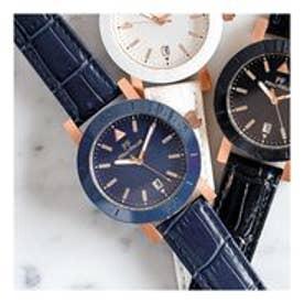 TIME FRAMED セラミックベゼル レザーウォッチ/腕時計 (ブルー)