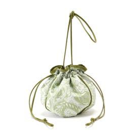 巾着バッグ ライトグリーン柄1