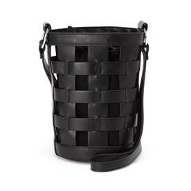 バケット編みバッグ ブラック