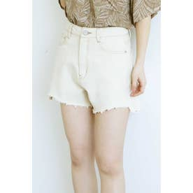 ◆《Sシリーズ対応商品》前後差カットオフデニムショートパンツ ホワイト