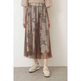 ◆チュールレイヤード花柄スカート ブラウンチュール1