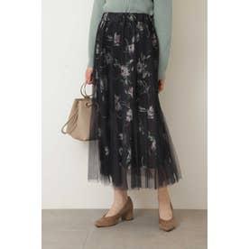 ◆チュールレイヤード花柄スカート ネイビーチュール1