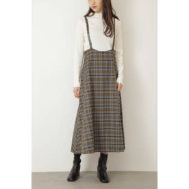 ◆ナローストラップチェックジャンパースカート カーキベース1