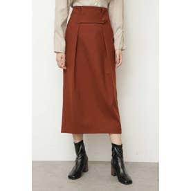 ◆ウエストタブタックタイトスカート ブラウン
