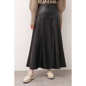 フェイクレザーフレアスカート ブラック