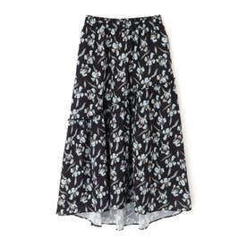 ◆ヴィンテージ花柄マキシティアードスカート ブラックベース1