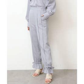 裾ドロストフレアパンツ ブルー