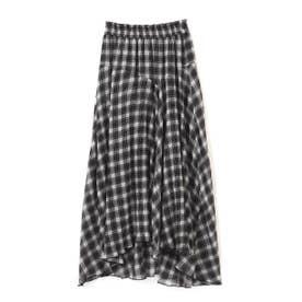 《Sシリーズ対応商品》チェック柄楊柳イレヘムフレアスカート ブラックチェック1
