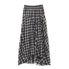 ◇《Sシリーズ対応商品》チェック柄楊柳イレヘムフレアスカート ブラックチェック1