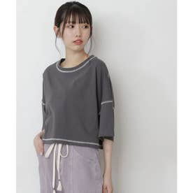 短丈配色ステッチTシャツ スミクロ
