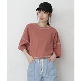 短丈配色ステッチTシャツ オレンジ
