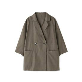 麻調合繊七分袖ジャケット ブラウン