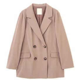 《Sシリーズ対応商品》麻調合繊ダブルブレストジャケット ブラウン