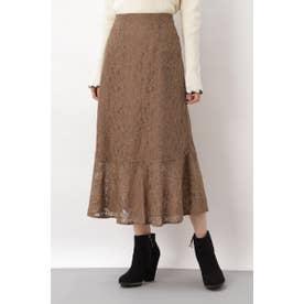 ◇《Sシリーズ対応商品》ハイウエストレースマーメードスカート ブラウン