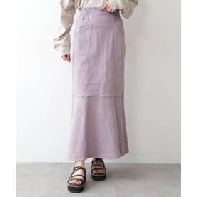 ◇《Sシリーズ対応商品》パネル切替マーメイドデニムスカート ラベンダー1