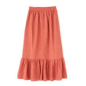 ストライプドビー刺繍ウエストシャーリングマーメイドスカート オレンジ