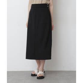 《Sシリーズ対応商品》ストレッチダブルジョーゼットスリットタイトスカート ブラック