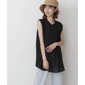 ピンタックノースリーブチュニックシャツ ブラック