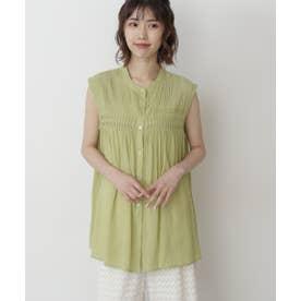 ピンタックノースリーブチュニックシャツ ライトグリーン