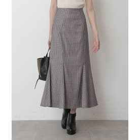 チェックマーメイドスカート ブラウンベース1