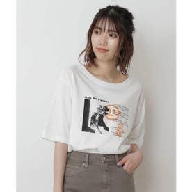 モノトーンフォトグラフィティプリントTシャツ ホワイト