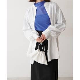 《Sシリーズ対応商品》T/Rスタンドネックチュニックシャツ ホワイト
