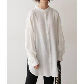 T/Rバンドカラーバックギャザーチュニックシャツ ホワイト