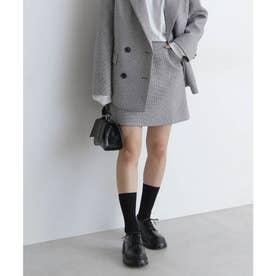 《Sシリーズ対応商品》起毛チェック台形ミニスカート ブラックベース1