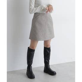 《Sシリーズ対応商品》起毛チェック台形ミニスカート ブラウンベース1