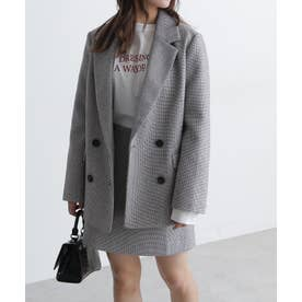 《Sシリーズ対応商品》起毛チェックダブルブレストジャケット ブラックベース1