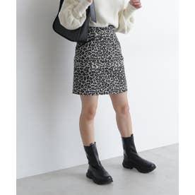 ジャガード台形ミニスカート ブラックレオパード1