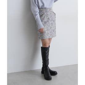 ジャガード台形ミニスカート ホワイトフラワー1