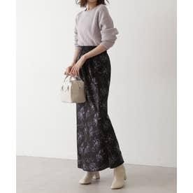 《Sシリーズ対応商品》アートフラワー柄ナローマキシスカート ブラックベース1